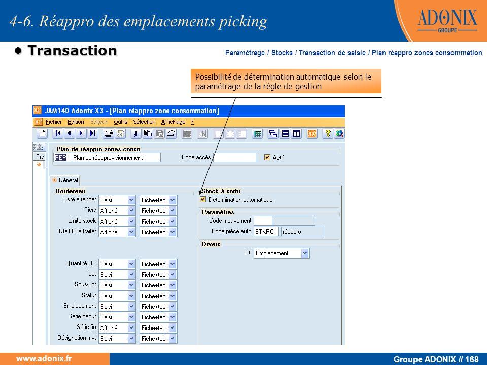 Groupe ADONIX // 168 www.adonix.fr Transaction Transaction 4-6. Réappro des emplacements picking Possibilité de détermination automatique selon le par