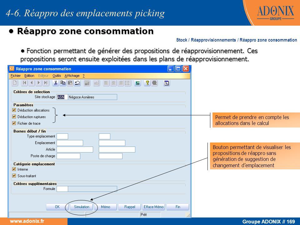 Groupe ADONIX // 169 www.adonix.fr Réappro zone consommation Réappro zone consommation 4-6. Réappro des emplacements picking Fonction permettant de gé