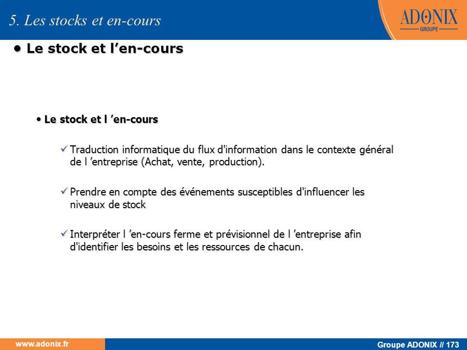 Groupe ADONIX // 173 www.adonix.fr Le stock et len-cours Le stock et len-cours Traduction informatique du flux d'information dans le contexte général