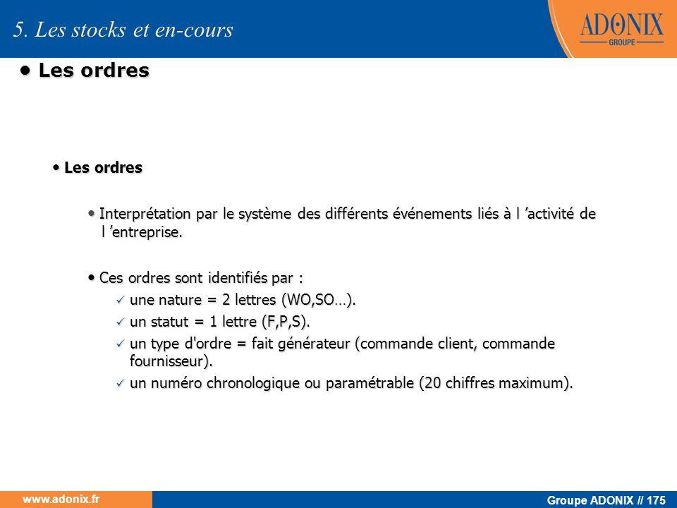 Groupe ADONIX // 175 www.adonix.fr Les ordres Les ordres Interprétation par le système des différents événements liés à l activité de l entreprise. In