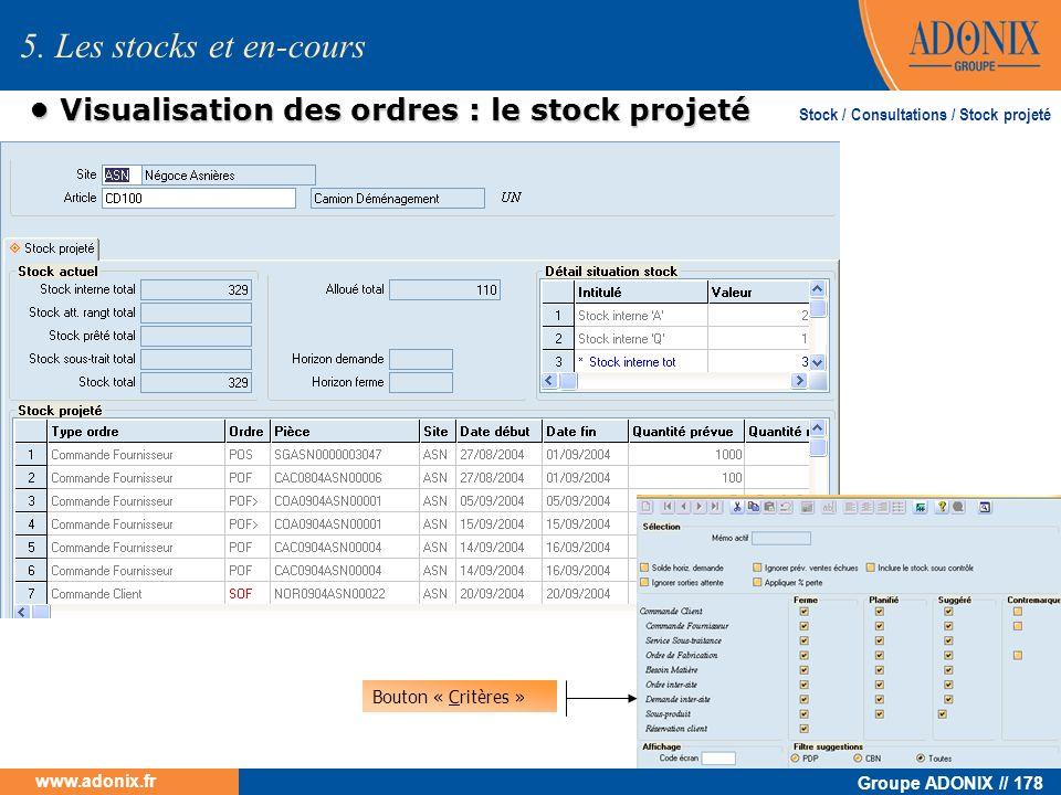 Groupe ADONIX // 178 www.adonix.fr Visualisation des ordres : le stock projeté Visualisation des ordres : le stock projeté 5. Les stocks et en-cours B