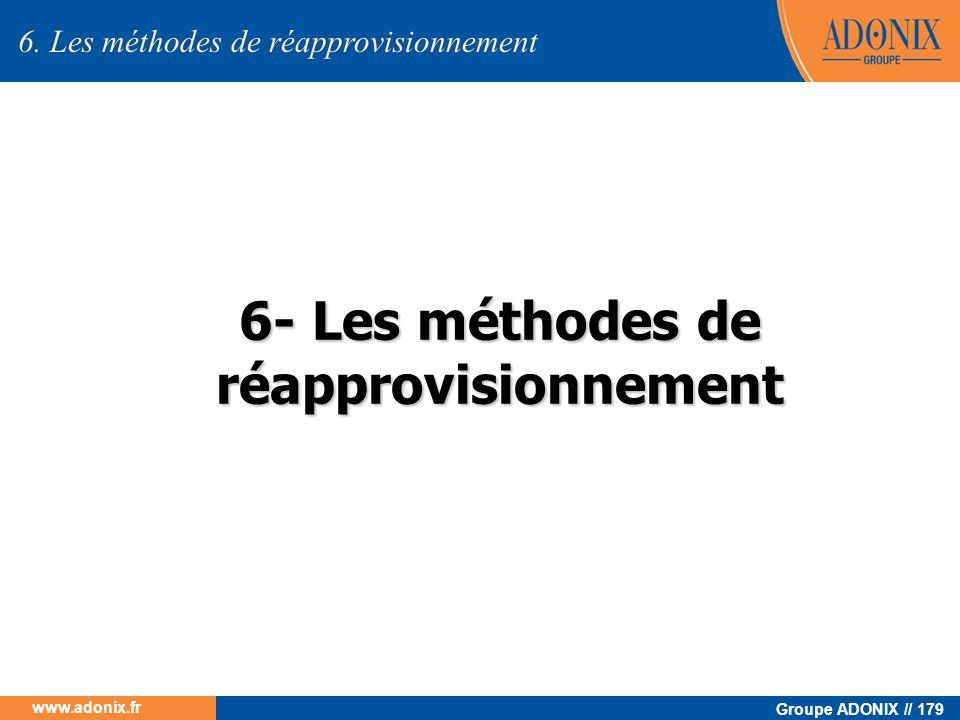 Groupe ADONIX // 179 www.adonix.fr 6- Les méthodes de réapprovisionnement 6. Les méthodes de réapprovisionnement