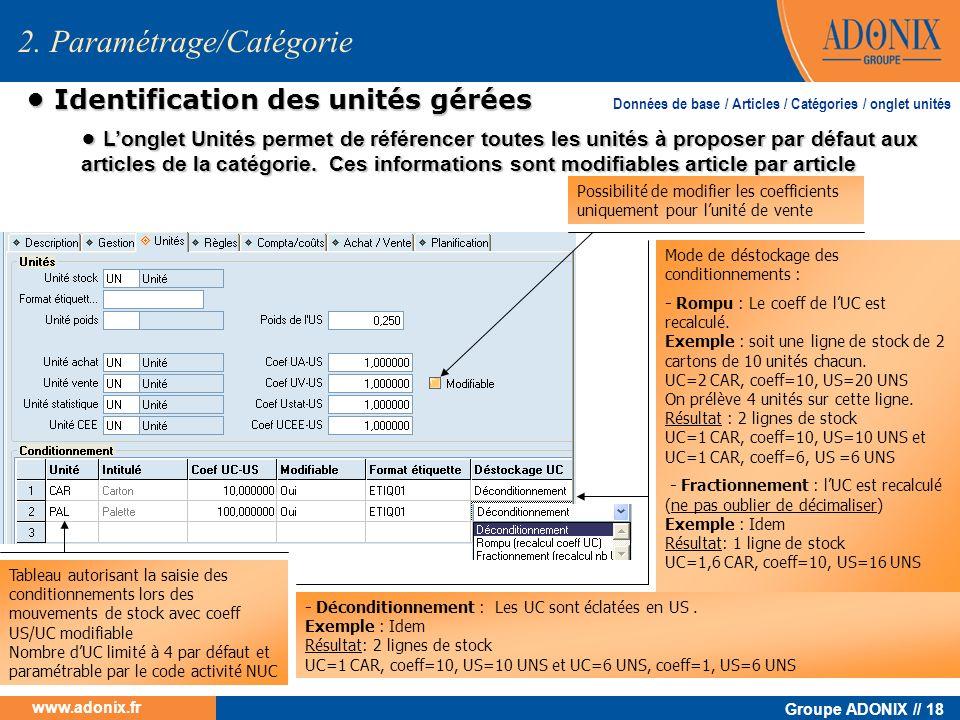 Groupe ADONIX // 18 www.adonix.fr 2. Paramétrage/Catégorie Identification des unités gérées Identification des unités gérées Longlet Unités permet de