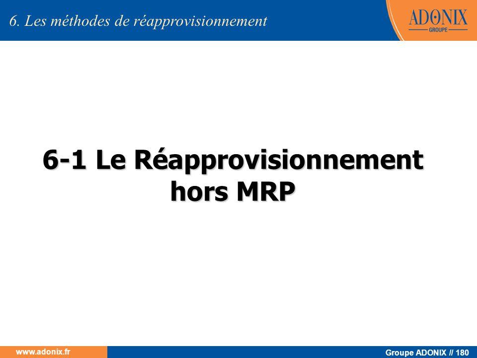 Groupe ADONIX // 180 www.adonix.fr 6-1 Le Réapprovisionnement hors MRP 6. Les méthodes de réapprovisionnement