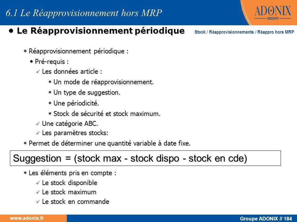 Groupe ADONIX // 184 www.adonix.fr Réapprovisionnement périodique : Réapprovisionnement périodique : Pré-requis : Pré-requis : Les données article : L