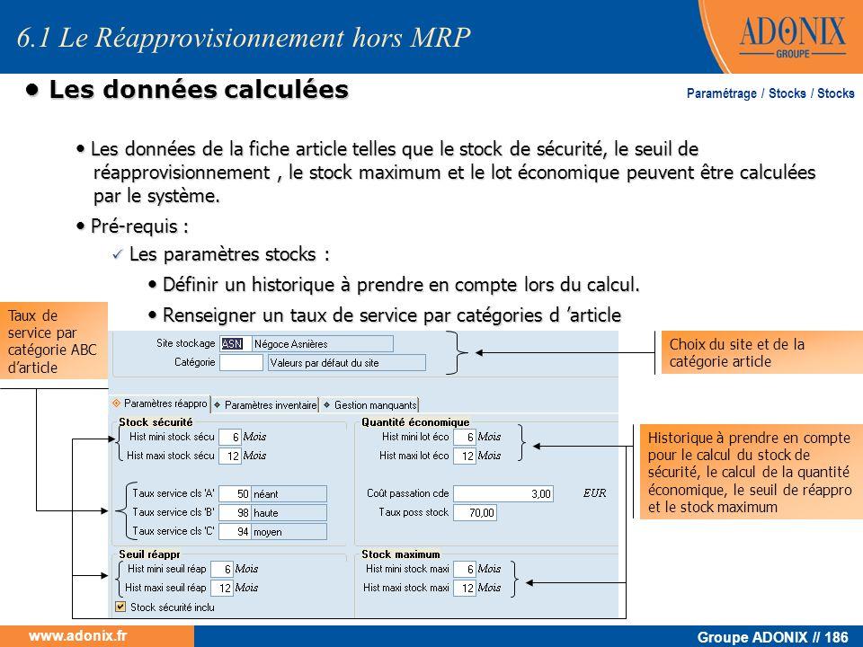 Groupe ADONIX // 186 www.adonix.fr Les données calculées Les données calculées Les données de la fiche article telles que le stock de sécurité, le seu