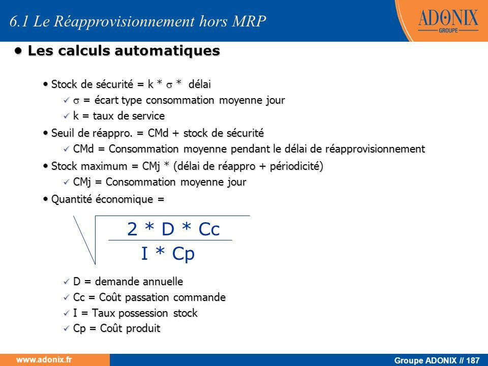 Groupe ADONIX // 187 www.adonix.fr Les calculs automatiques Les calculs automatiques Stock de sécurité = k * * délai Stock de sécurité = k * * délai =