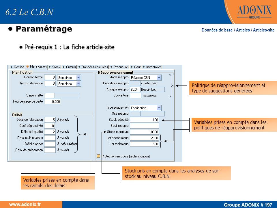 Groupe ADONIX // 197 www.adonix.fr Paramétrage Paramétrage 6.2 Le C.B.N Pré-requis 1 : La fiche article-site Pré-requis 1 : La fiche article-site Poli