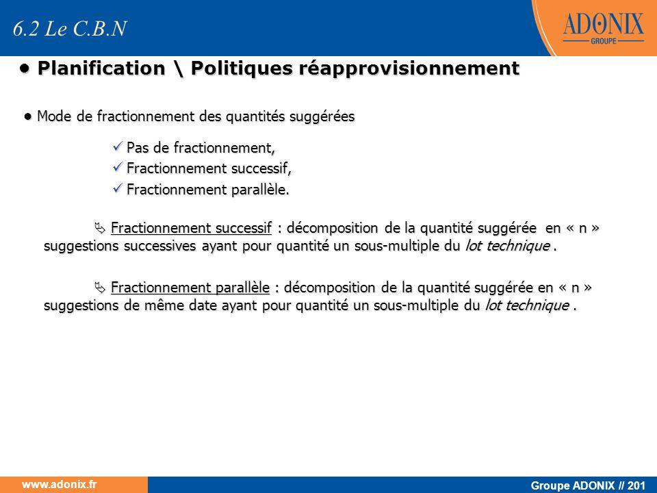 Groupe ADONIX // 201 www.adonix.fr Planification \ Politiques réapprovisionnement Planification \ Politiques réapprovisionnement Mode de fractionnemen