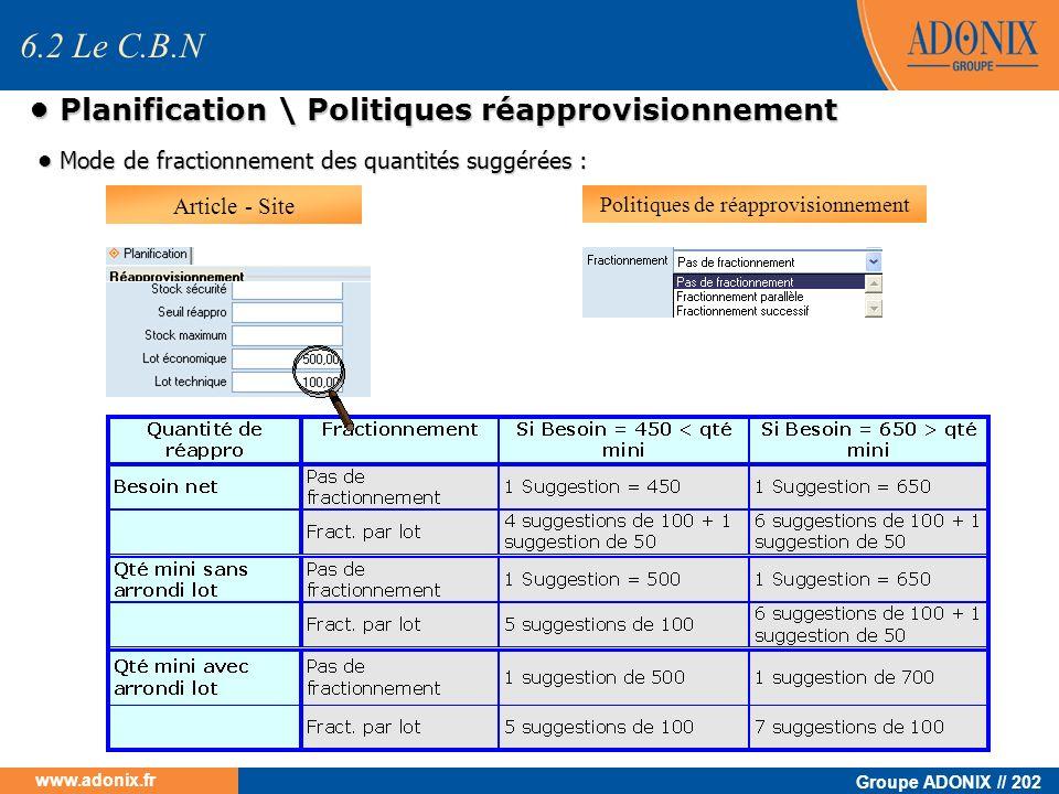 Groupe ADONIX // 202 www.adonix.fr Planification \ Politiques réapprovisionnement Planification \ Politiques réapprovisionnement Mode de fractionnemen