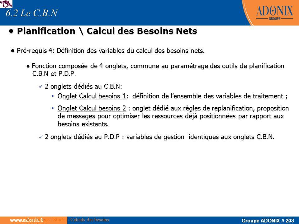 Groupe ADONIX // 203 www.adonix.fr Planification \ Calcul des Besoins Nets Planification \ Calcul des Besoins Nets Pré-requis 4: Définition des variab