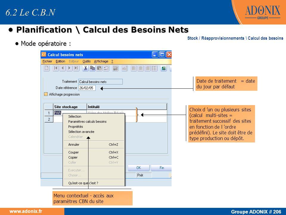 Groupe ADONIX // 206 www.adonix.fr Planification \ Calcul des Besoins Nets Planification \ Calcul des Besoins Nets Mode opératoire : Mode opératoire :