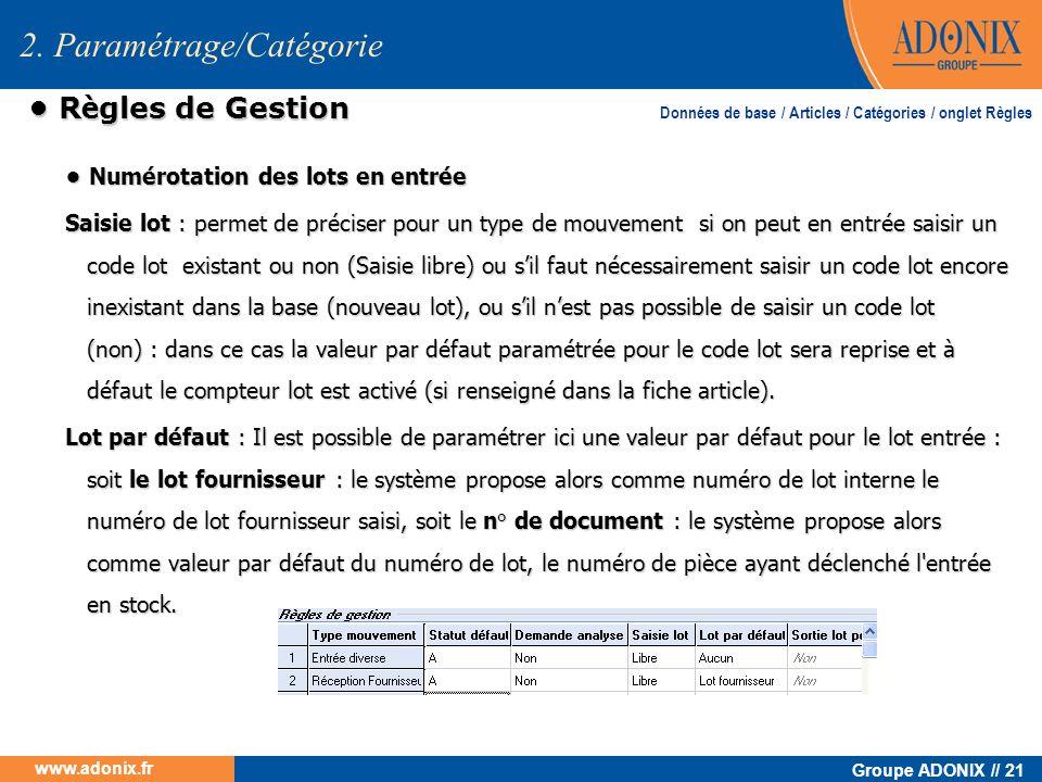 Groupe ADONIX // 21 www.adonix.fr R è gles de Gestion R è gles de Gestion Numérotation des lots en entrée Numérotation des lots en entrée Saisie lot :