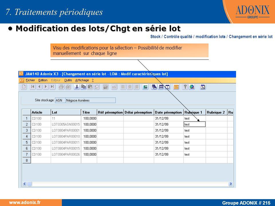 Groupe ADONIX // 215 www.adonix.fr Modification des lots/Chgt en série lot Modification des lots/Chgt en série lot Stock / Contrôle qualité / modifica