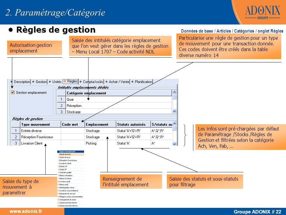 Groupe ADONIX // 22 www.adonix.fr 2. Paramétrage/Catégorie Règles de gestion Règles de gestion Saisie des intitulés catégorie emplacement que lon veut