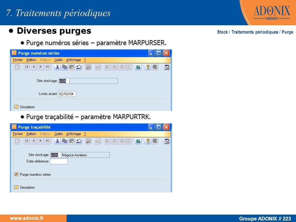 Groupe ADONIX // 223 www.adonix.fr 7. Traitements périodiques Diverses purges Diverses purges Stock / Traitements périodiques / Purge Purge numéros sé
