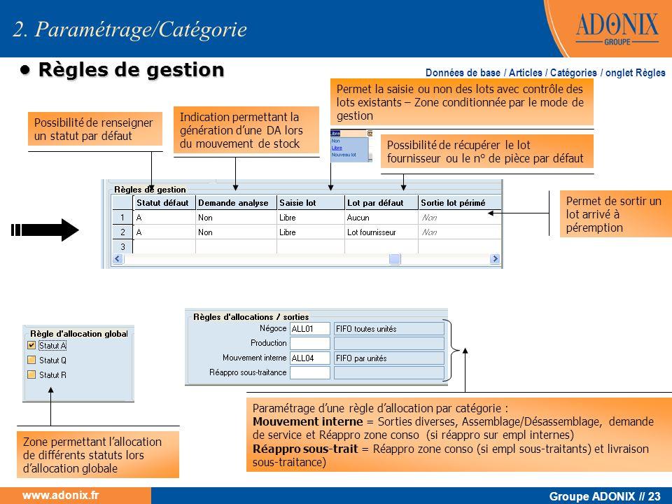Groupe ADONIX // 23 www.adonix.fr 2. Paramétrage/Catégorie Règles de gestion Règles de gestion Possibilité de renseigner un statut par défaut Indicati