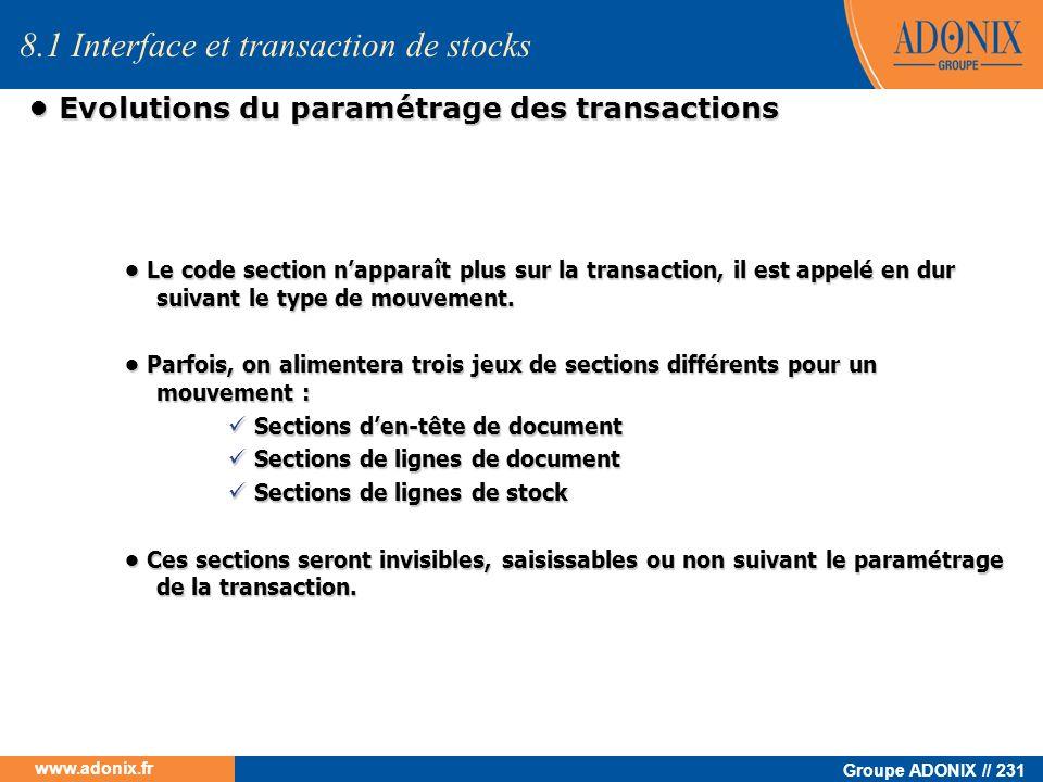 Groupe ADONIX // 231 www.adonix.fr Evolutions du paramétrage des transactions Evolutions du paramétrage des transactions 8.1 Interface et transaction