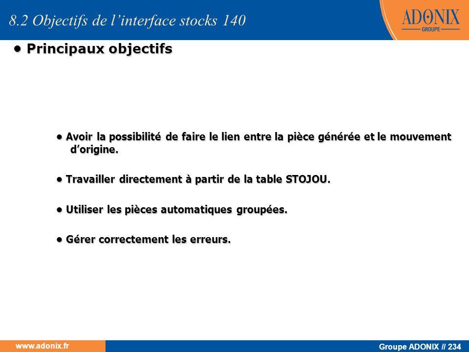 Groupe ADONIX // 234 www.adonix.fr Principaux objectifs Principaux objectifs Avoir la possibilité de faire le lien entre la pièce générée et le mouvem