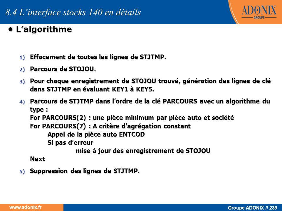 Groupe ADONIX // 239 www.adonix.fr Lalgorithme Lalgorithme 8.4 Linterface stocks 140 en détails 1) Effacement de toutes les lignes de STJTMP. 2) Parco