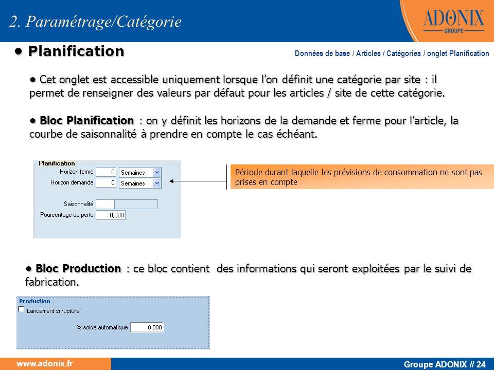 Groupe ADONIX // 24 www.adonix.fr Planification Planification 2. Paramétrage/Catégorie Cet onglet est accessible uniquement lorsque lon définit une ca