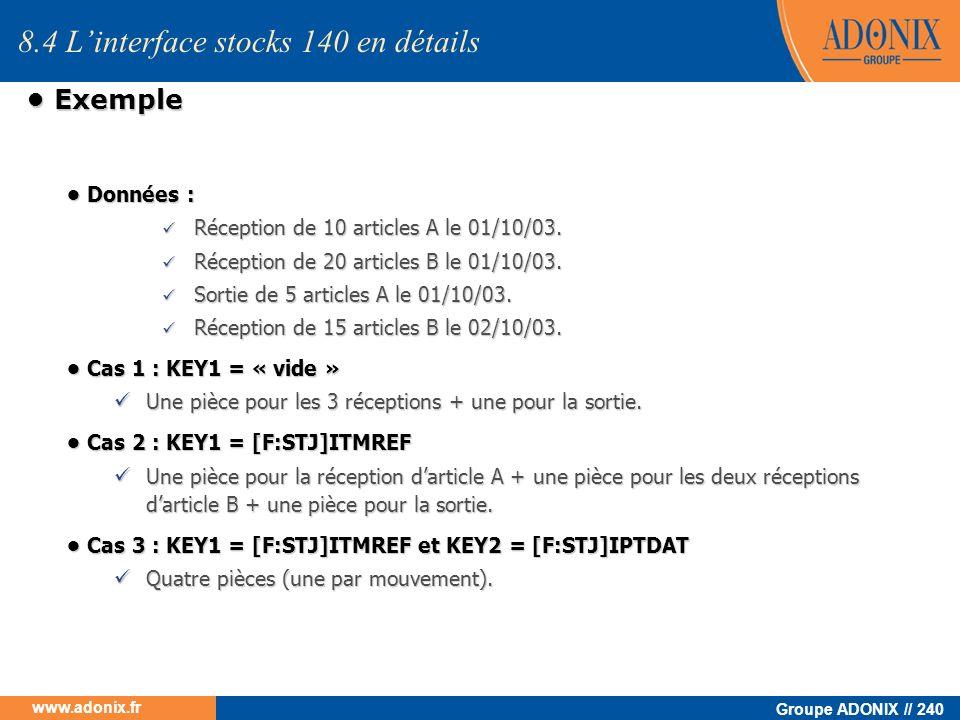 Groupe ADONIX // 240 www.adonix.fr Exemple Exemple 8.4 Linterface stocks 140 en détails Données : Données : Réception de 10 articles A le 01/10/03. Ré