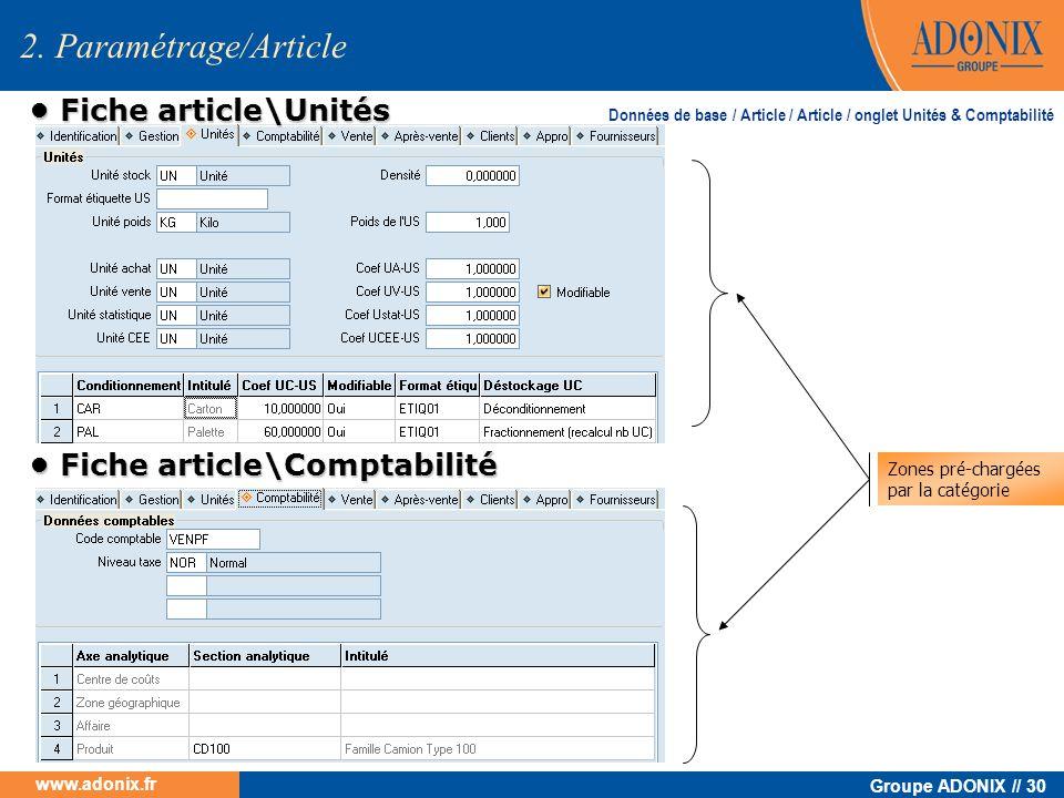 Groupe ADONIX // 30 www.adonix.fr 2. Paramétrage/Article Fiche article\Unités Fiche article\Unités Fiche article\Comptabilité Fiche article\Comptabili