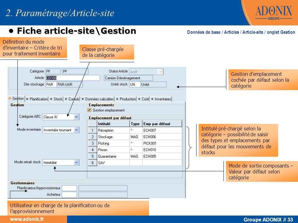 Groupe ADONIX // 33 www.adonix.fr Fiche article-site\Gestion Fiche article-site\Gestion 2. Paramétrage/Article-site Classe pré-chargée de la catégorie