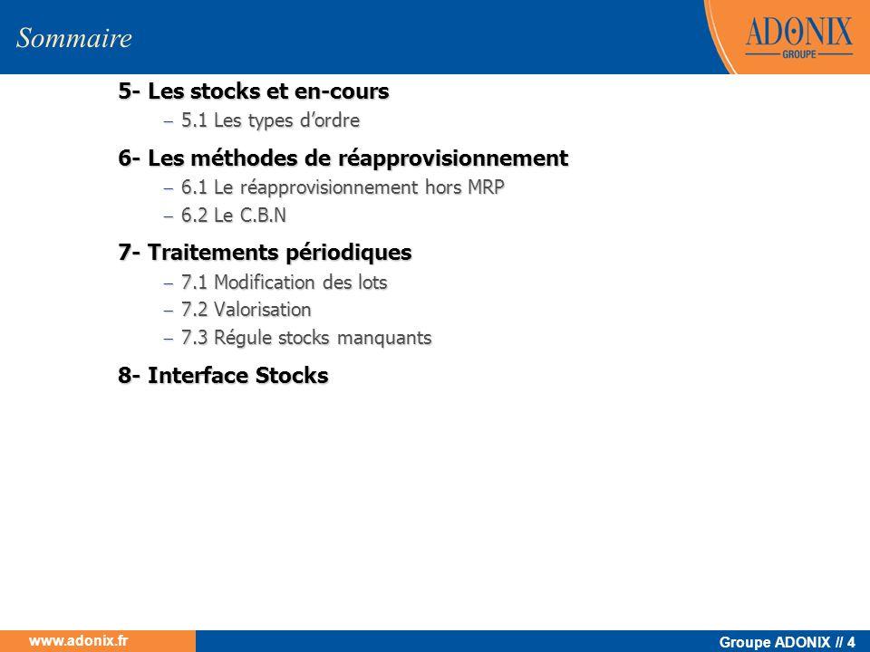 Groupe ADONIX // 4 www.adonix.fr 5- Les stocks et en-cours 5.1 Les types dordre 5.1 Les types dordre 6- Les méthodes de réapprovisionnement 6.1 Le réa