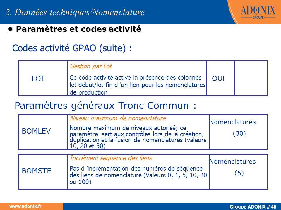 Groupe ADONIX // 45 www.adonix.fr Paramètres et codes activité Paramètres et codes activité Codes activité GPAO (suite) : LOT Gestion par Lot Ce code