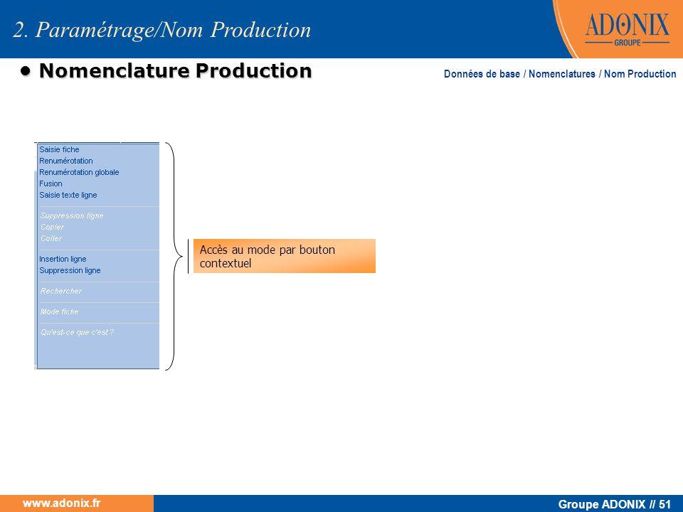 Groupe ADONIX // 51 www.adonix.fr Nomenclature Production Nomenclature Production Accès au mode par bouton contextuel Données de base / Nomenclatures