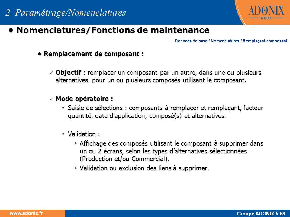 Groupe ADONIX // 58 www.adonix.fr Nomenclatures/Fonctions de maintenance Nomenclatures/Fonctions de maintenance Remplacement de composant : Remplaceme