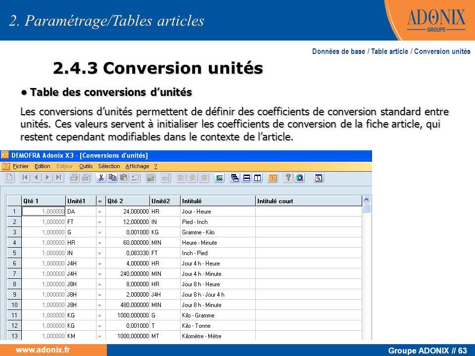 Groupe ADONIX // 63 www.adonix.fr 2.4.3 Conversion unités 2. Paramétrage/Tables articles Table des conversions dunités Table des conversions dunités L