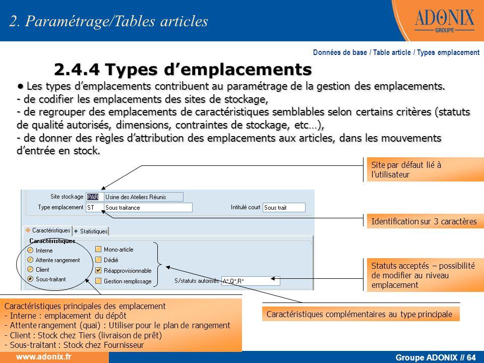 Groupe ADONIX // 64 www.adonix.fr 2.4.4 Types demplacements 2. Paramétrage/Tables articles Les types demplacements contribuent au paramétrage de la ge