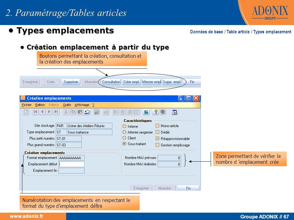 Groupe ADONIX // 67 www.adonix.fr Types emplacements Types emplacements 2. Paramétrage/Tables articles Données de base / Table article / Types emplace