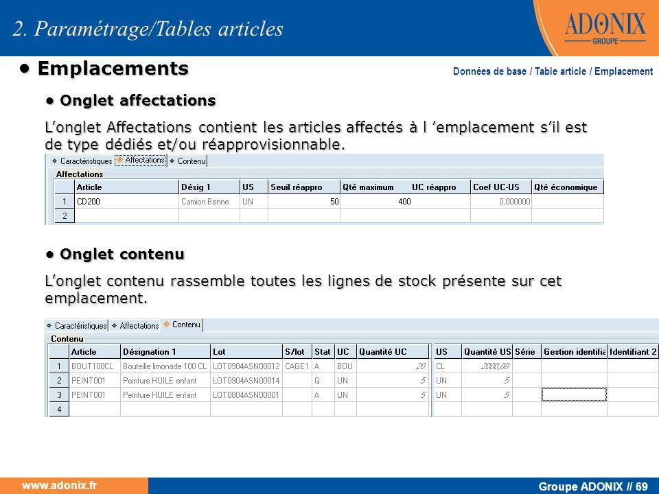 Groupe ADONIX // 69 www.adonix.fr Emplacements Emplacements 2. Paramétrage/Tables articles Données de base / Table article / Emplacement Onglet affect