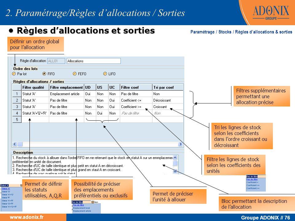 Groupe ADONIX // 76 www.adonix.fr 2. Paramétrage/Règles dallocations / Sorties Règles dallocations et sorties Règles dallocations et sorties Définir u