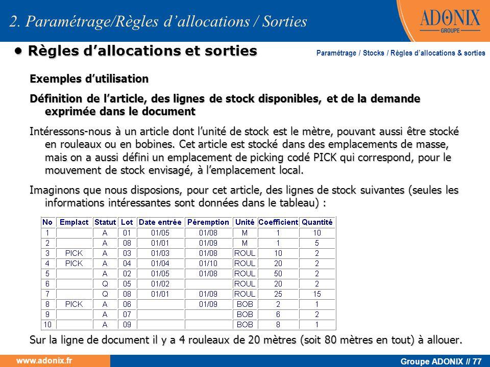 Groupe ADONIX // 77 www.adonix.fr Règles dallocations et sorties Règles dallocations et sorties Exemples dutilisation Définition de larticle, des lign