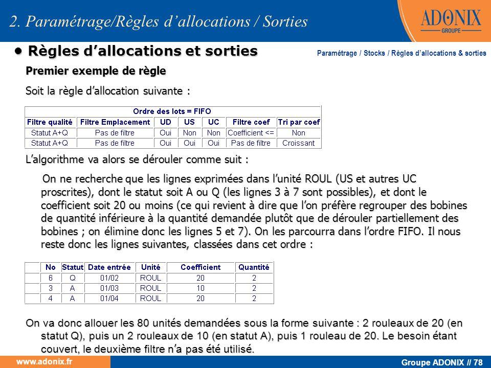Groupe ADONIX // 78 www.adonix.fr Règles dallocations et sorties Règles dallocations et sorties Premier exemple de règle Soit la règle dallocation sui
