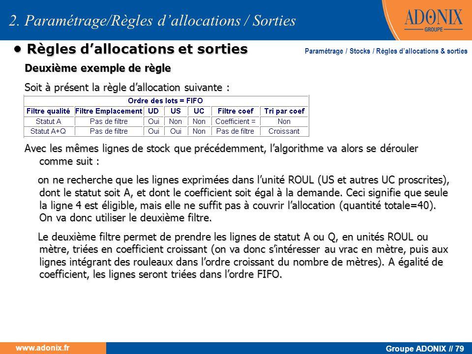 Groupe ADONIX // 79 www.adonix.fr Règles dallocations et sorties Règles dallocations et sorties Deuxième exemple de règle Soit à présent la règle dall