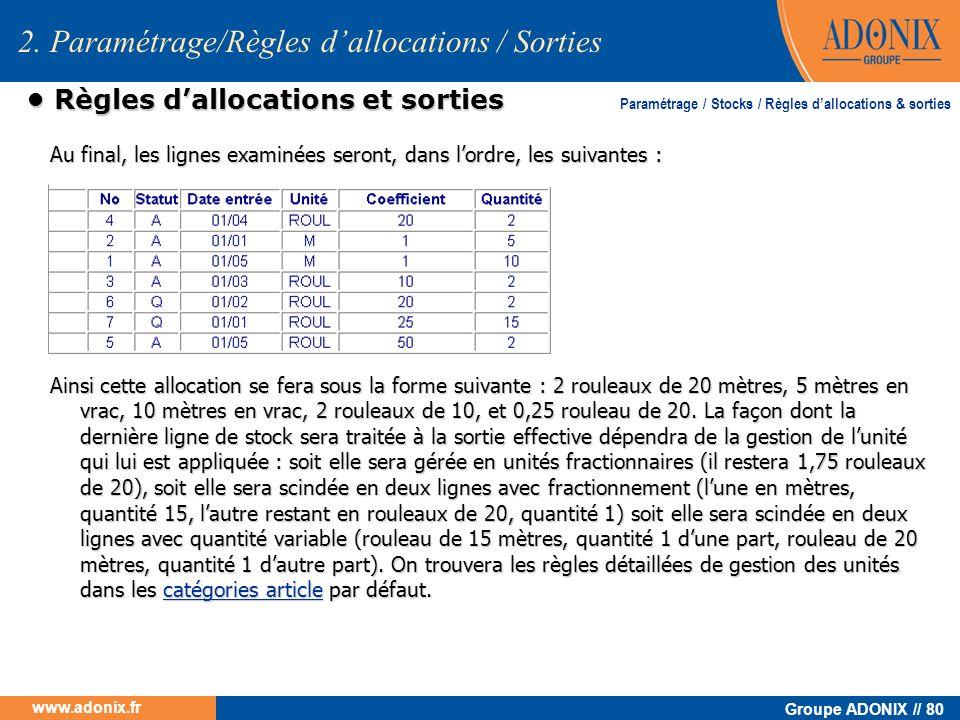 Groupe ADONIX // 80 www.adonix.fr Règles dallocations et sorties Règles dallocations et sorties Au final, les lignes examinées seront, dans lordre, le