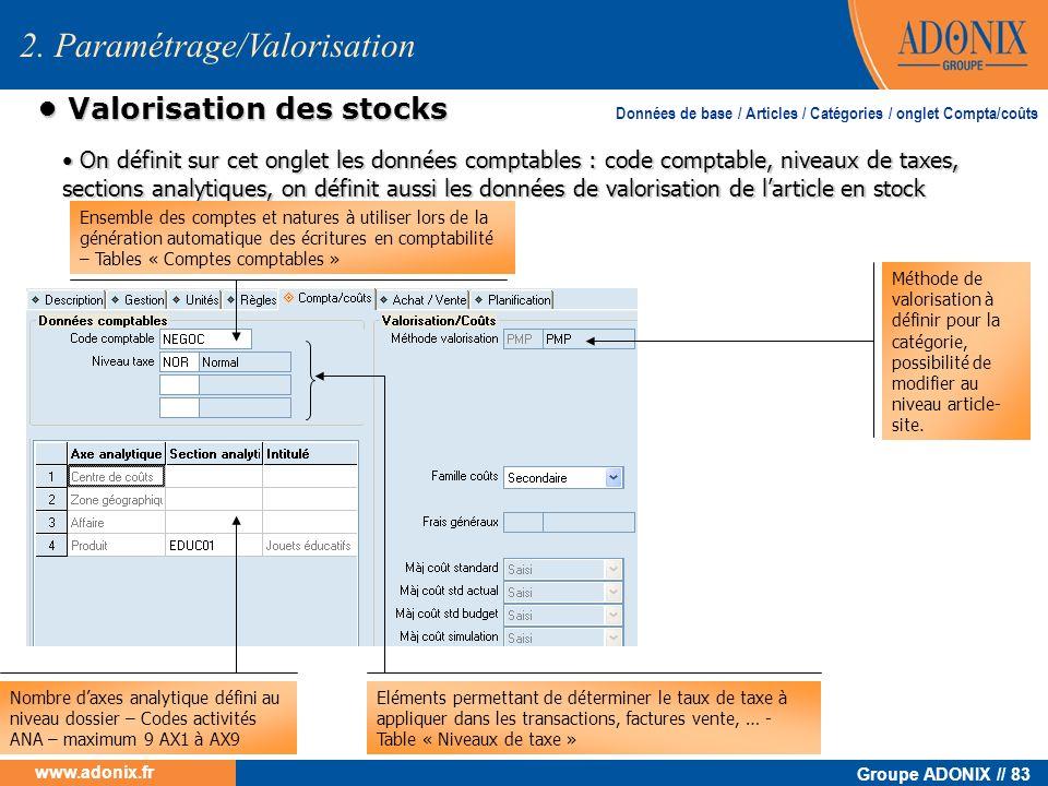 Groupe ADONIX // 83 www.adonix.fr Valorisation des stocks Valorisation des stocks 2. Paramétrage/Valorisation Ensemble des comptes et natures à utilis