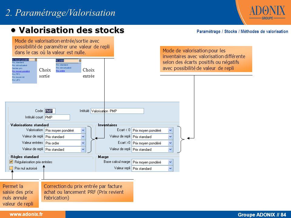 Groupe ADONIX // 84 www.adonix.fr Valorisation des stocks Valorisation des stocks 2. Paramétrage/Valorisation Mode de valorisation entrée/sortie avec