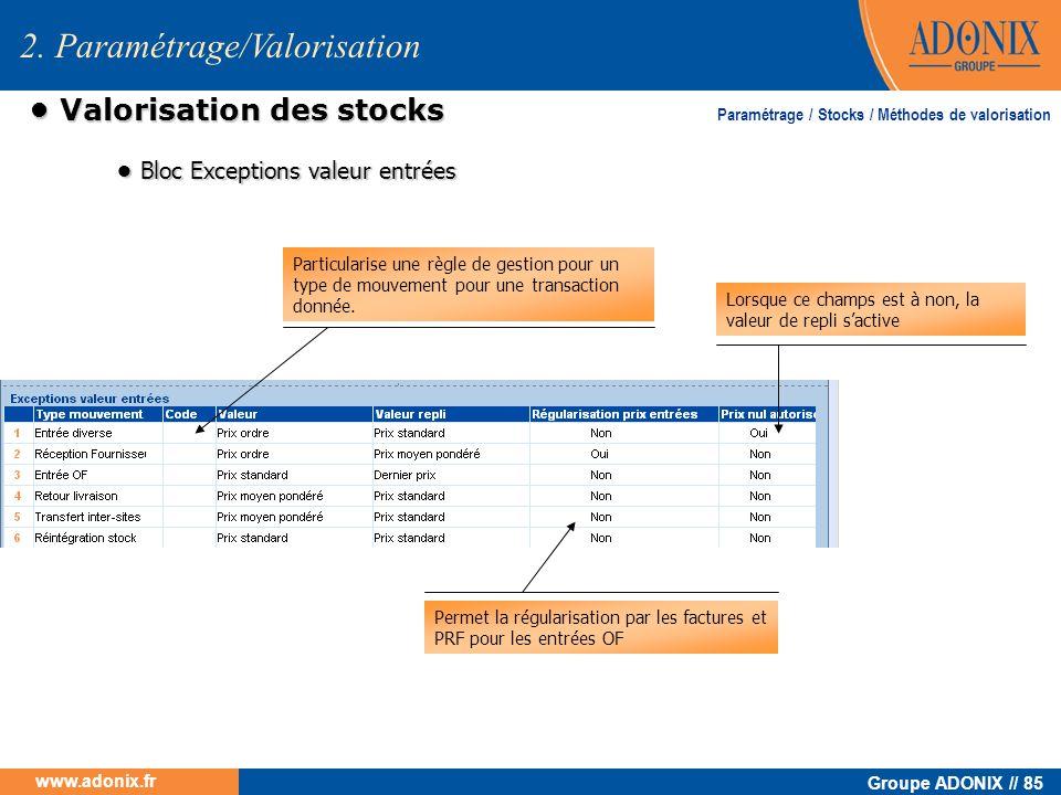 Groupe ADONIX // 85 www.adonix.fr Valorisation des stocks Valorisation des stocks 2. Paramétrage/Valorisation Bloc Exceptions valeur entrées Bloc Exce