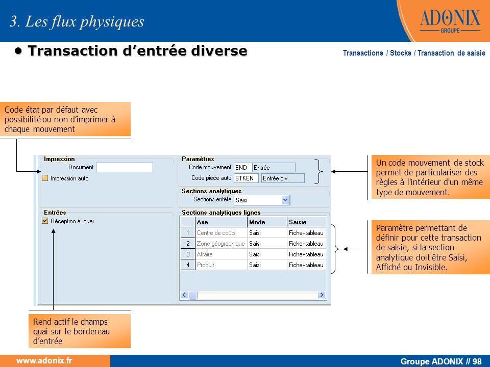 Groupe ADONIX // 98 www.adonix.fr Transaction dentrée diverse Transaction dentrée diverse Paramètre permettant de définir pour cette transaction de sa