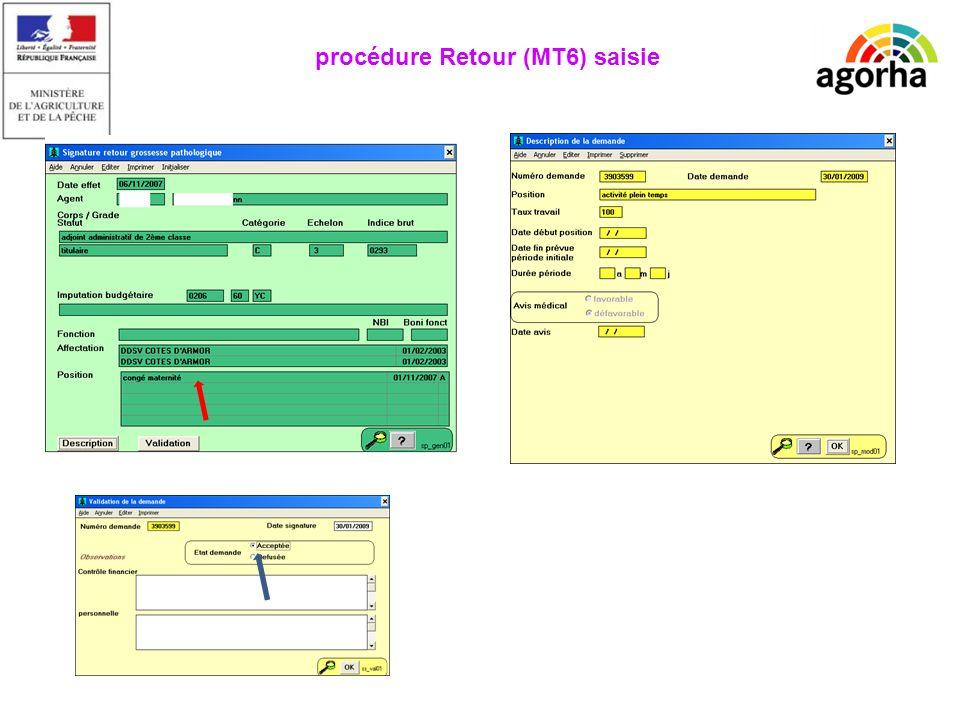 EPICEA Manque la description procédure Retour (MT6) saisie