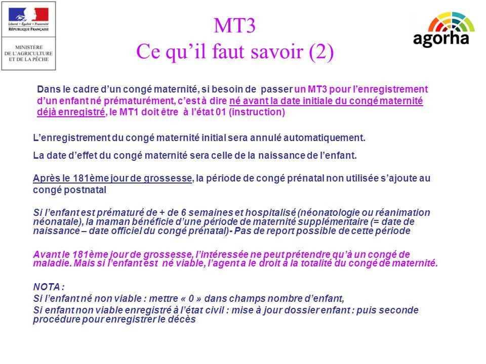 sg/srh/misirh MT3 Ce quil faut savoir (2) Lenregistrement du congé maternité initial sera annulé automatiquement.