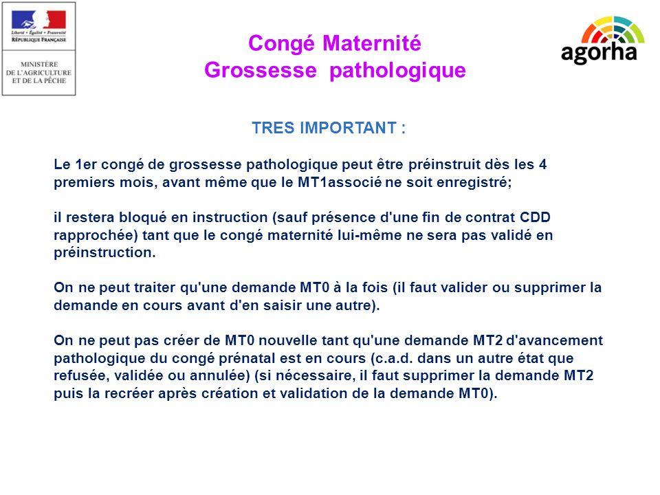 Déroulement Saisie dune période de congé pathologique prénatal dissocié du congé maternité.
