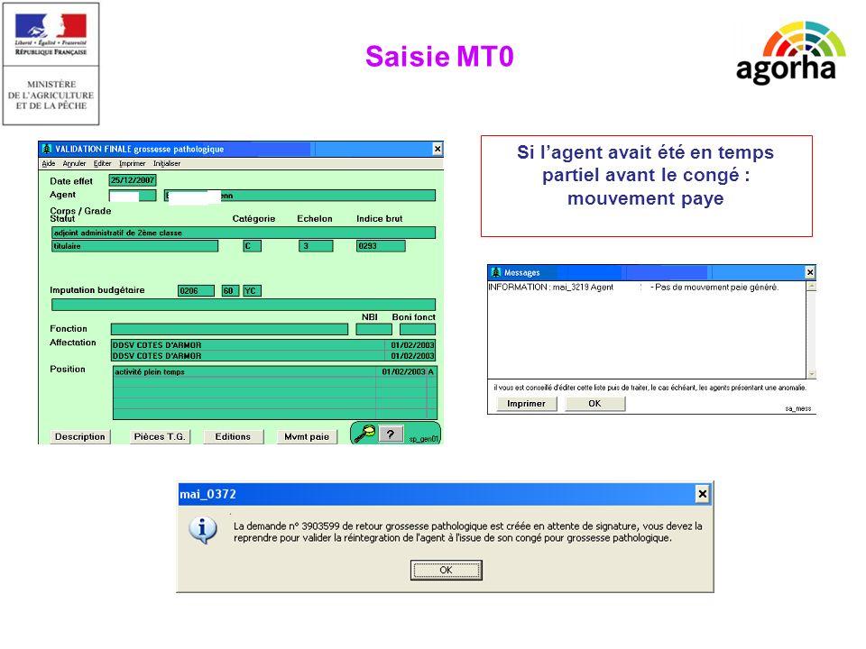 EPICEA Si lagent avait été en temps partiel avant le congé : mouvement paye Saisie MT0