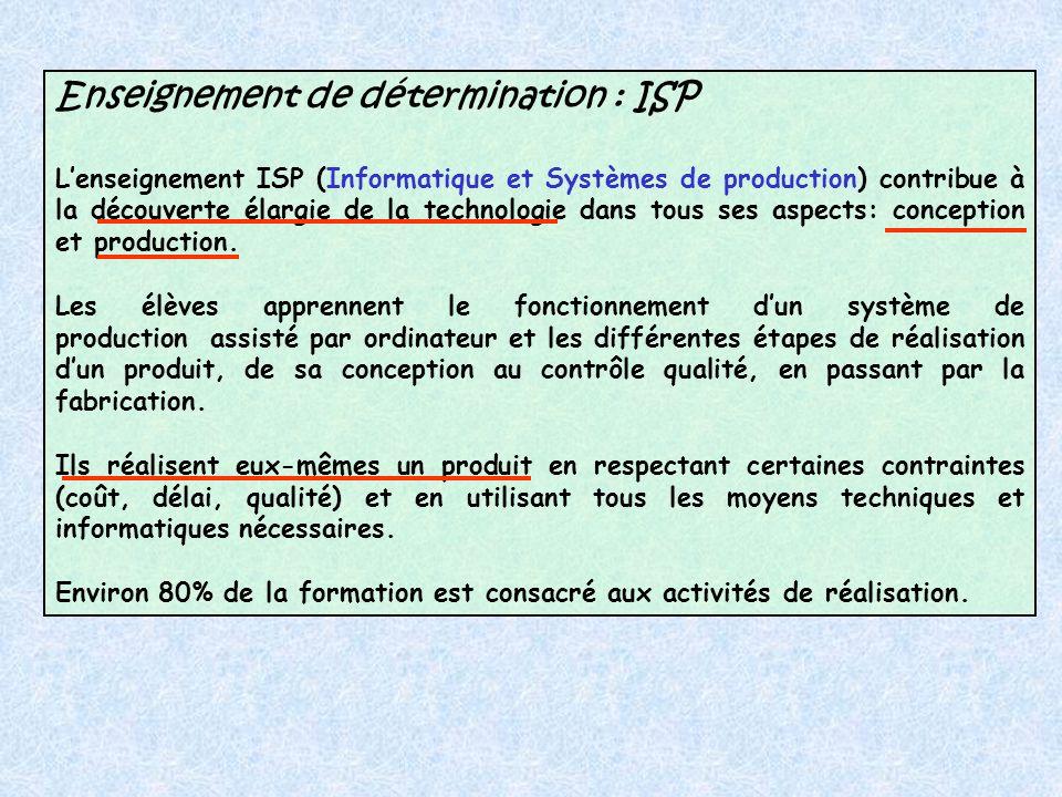 Enseignement de détermination : ISP Lenseignement ISP (Informatique et Systèmes de production) contribue à la découverte élargie de la technologie dans tous ses aspects: conception et production.